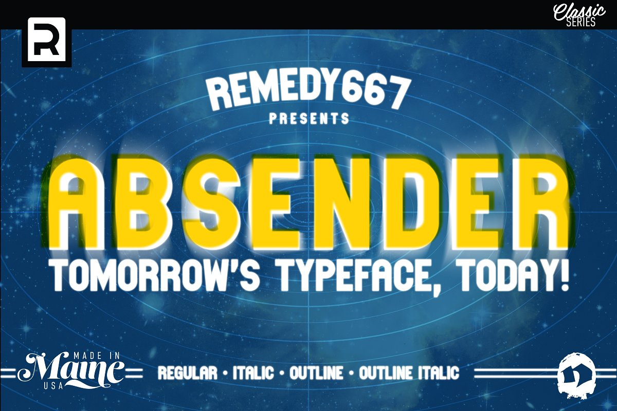 Absender, by Remedy667, Tomorrow's Typeface Today!