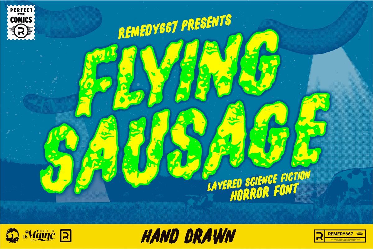 Check Out, Flying Sausage! Layered Science Fiction Horror Font from Remedy667