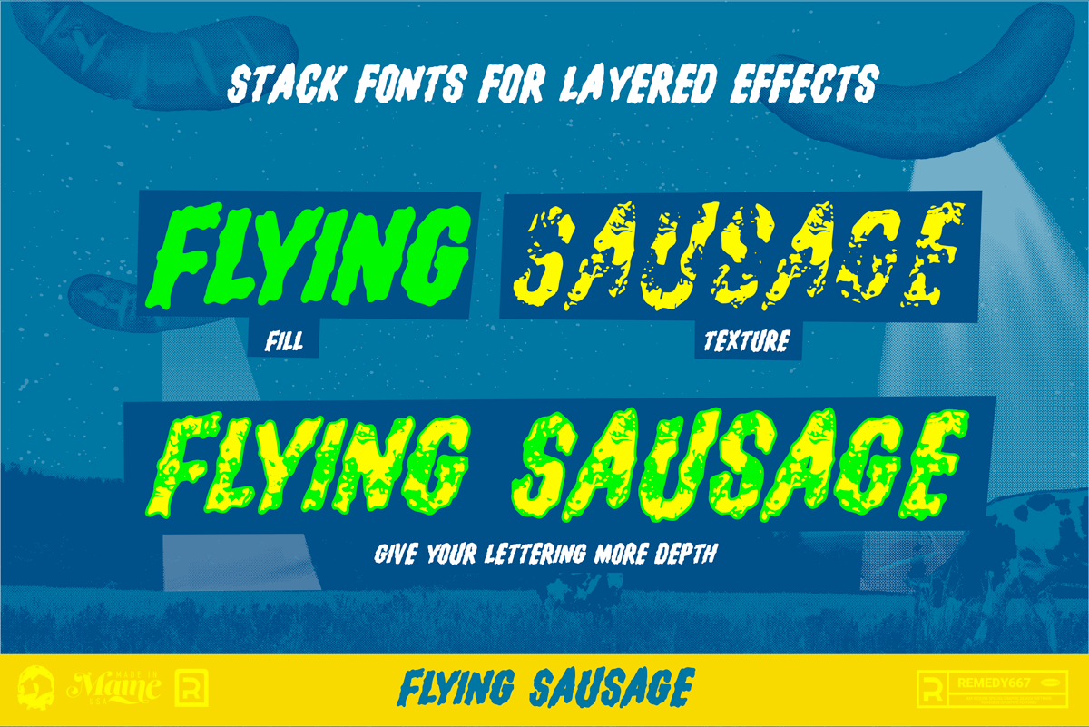 Flying Sausage - Stack Fonts for Layered Effects