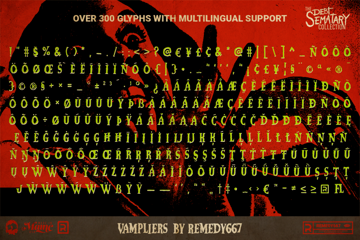 Vampliers - Over 300 Glyphs with Multilingual Support