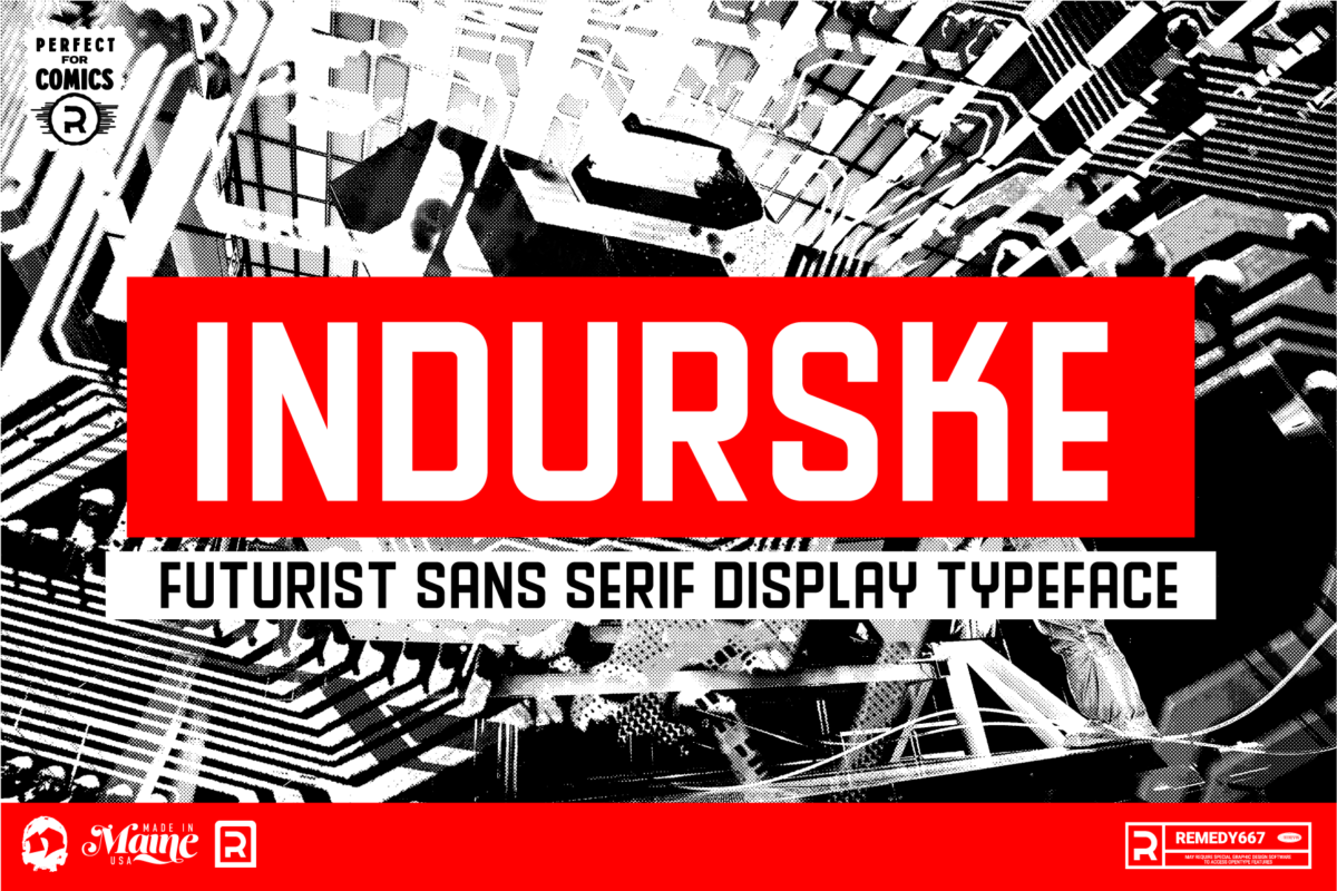 Indurske - Futurist Sans Serif Display Typeface from Remedy667