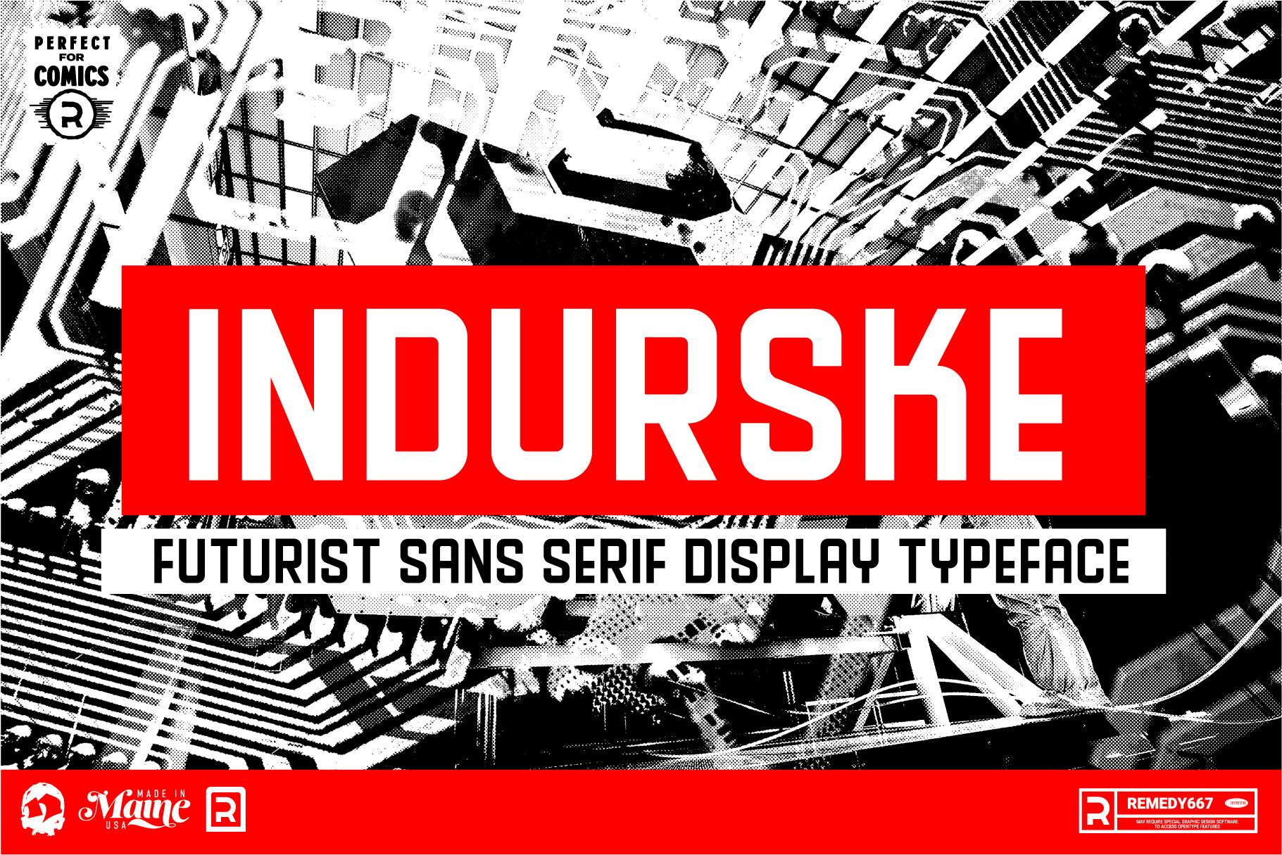 Indurske - Futurist Sans Serif Display Typeface from Remedy667