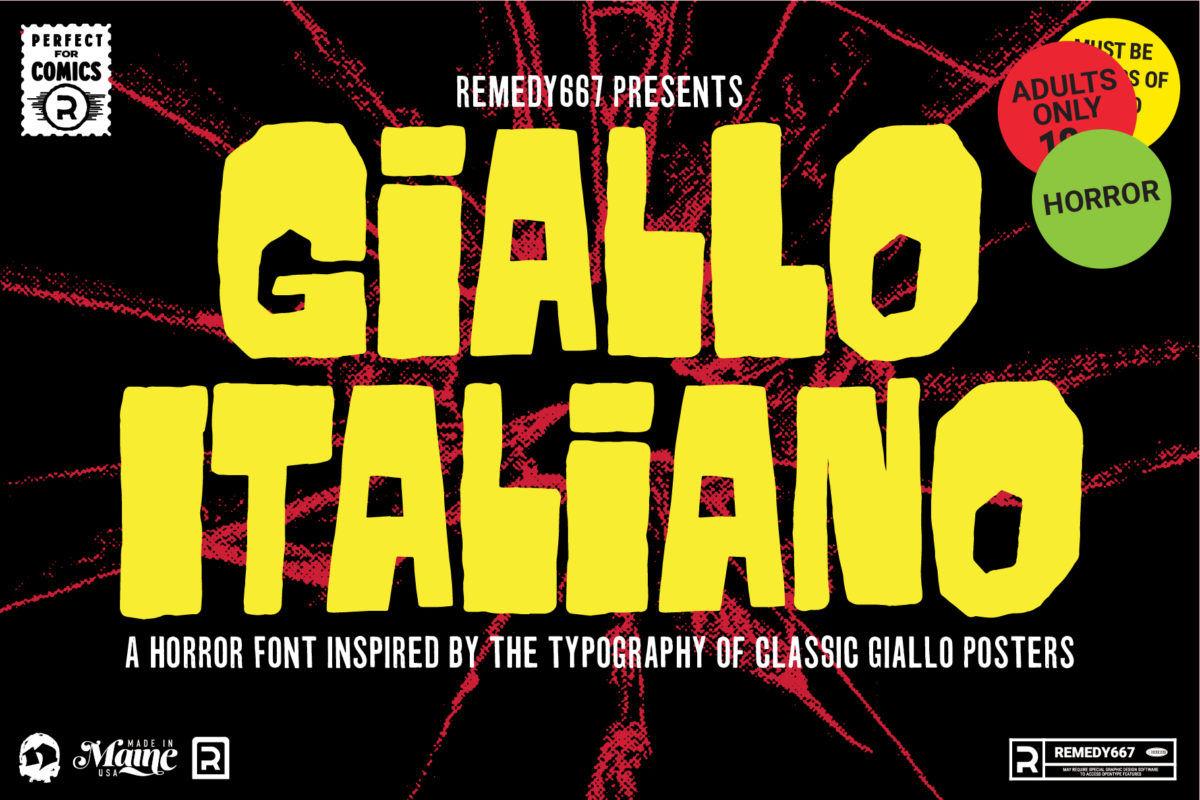 Remedy667 presents Giallo Italiano, a Horror Font inspired by the typeography of classic Giallo & Spaghetti Western Posters. A Horror movie font by Remedy667.
