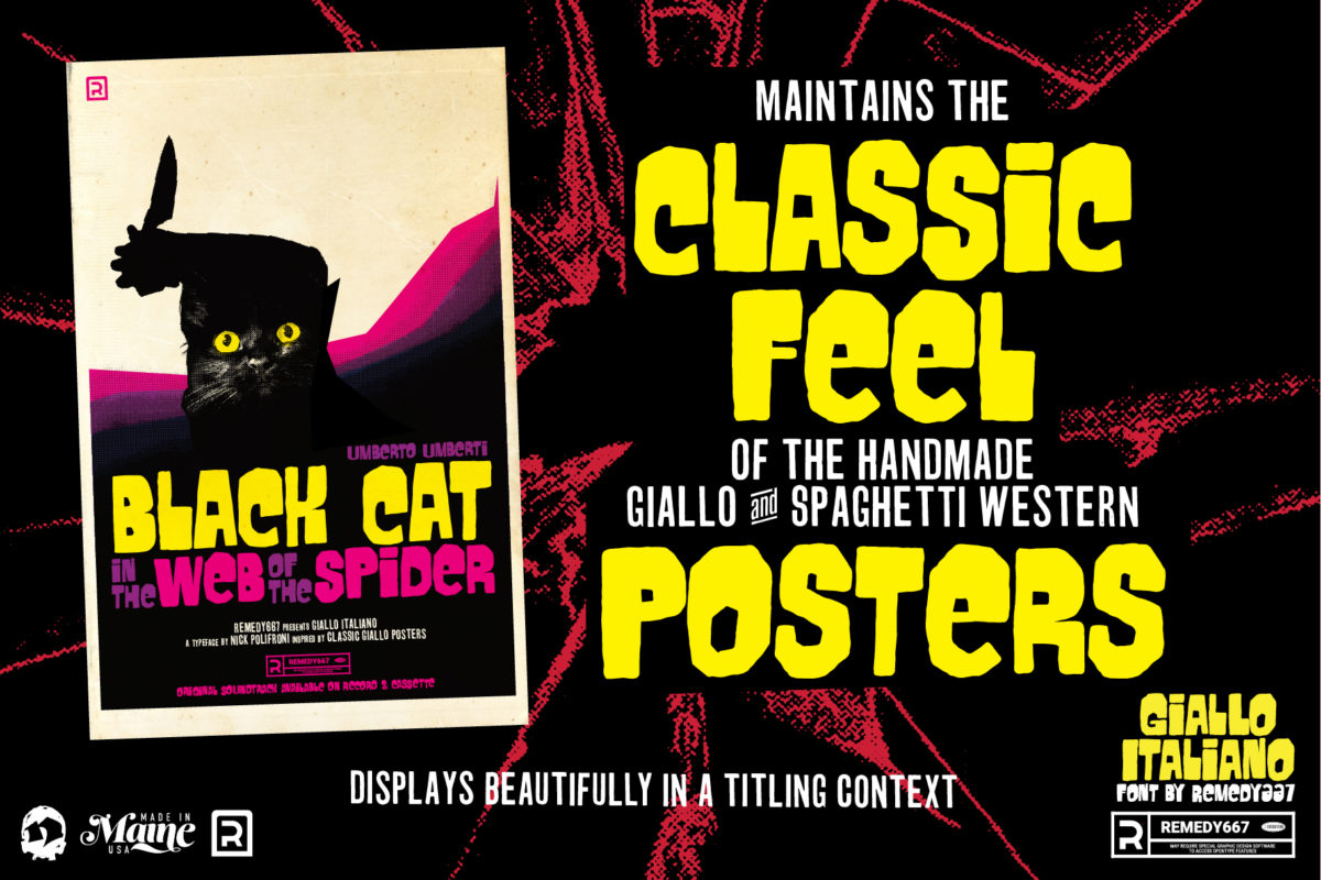 """Maintains the Classic Feel of the handmade Giallo & Spaghetti Western Posters. """"Black Cat in the Web of the Spider"""" Poster Example for Horror Movie Font, Giallo Italliano, by Remedy667"""