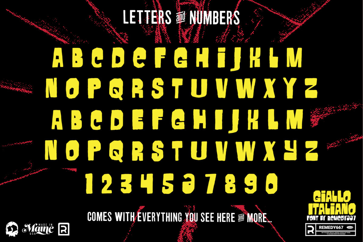 Letters & Numbers for Horror Movie Font, Giallo Italliano, by Remedy667