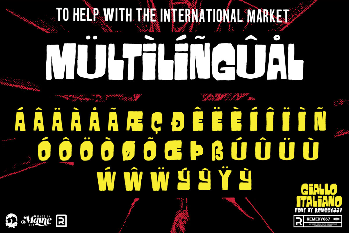 Multilingual Characters for Horror Movie Font, Giallo Italliano, by Remedy667
