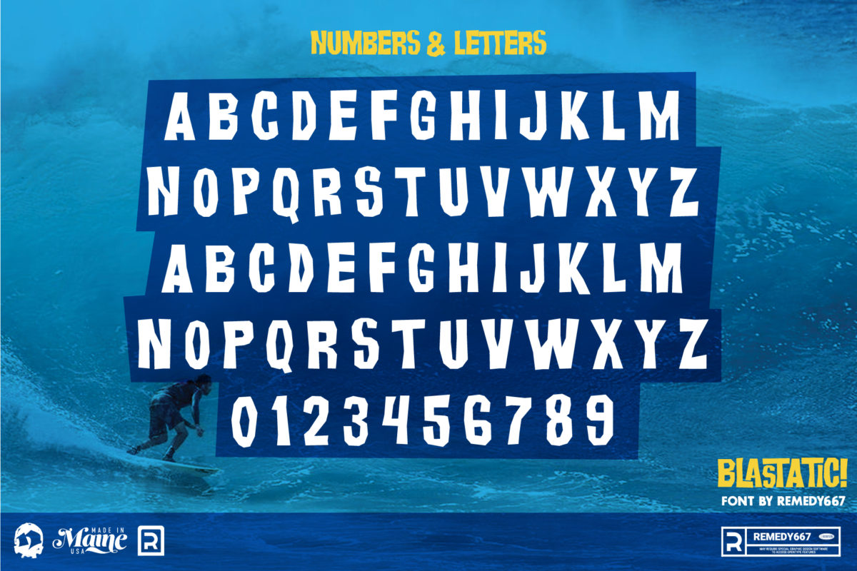 Letters & Numbers from the Blastatic! Font by Remedy667