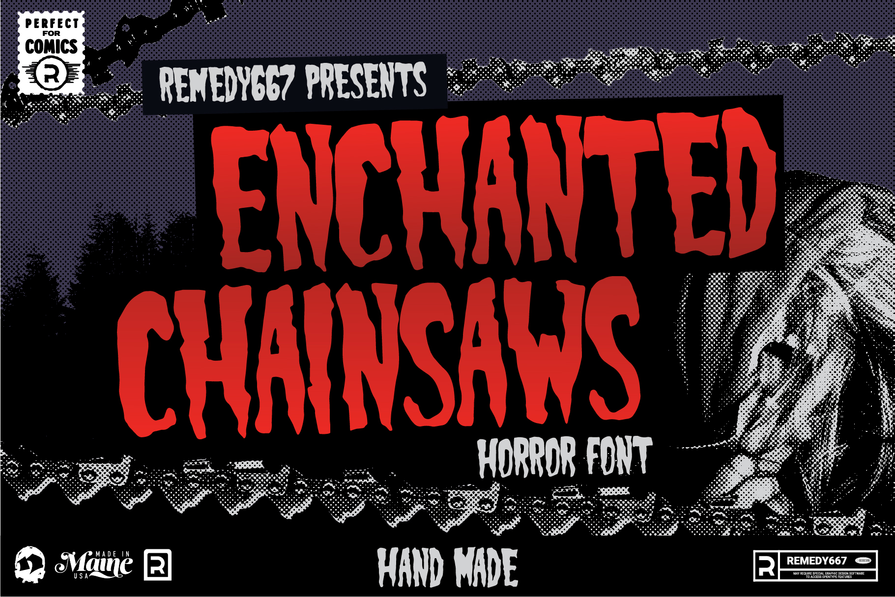 Remedy667 Presents Enchanted Chainsaws Horror Font