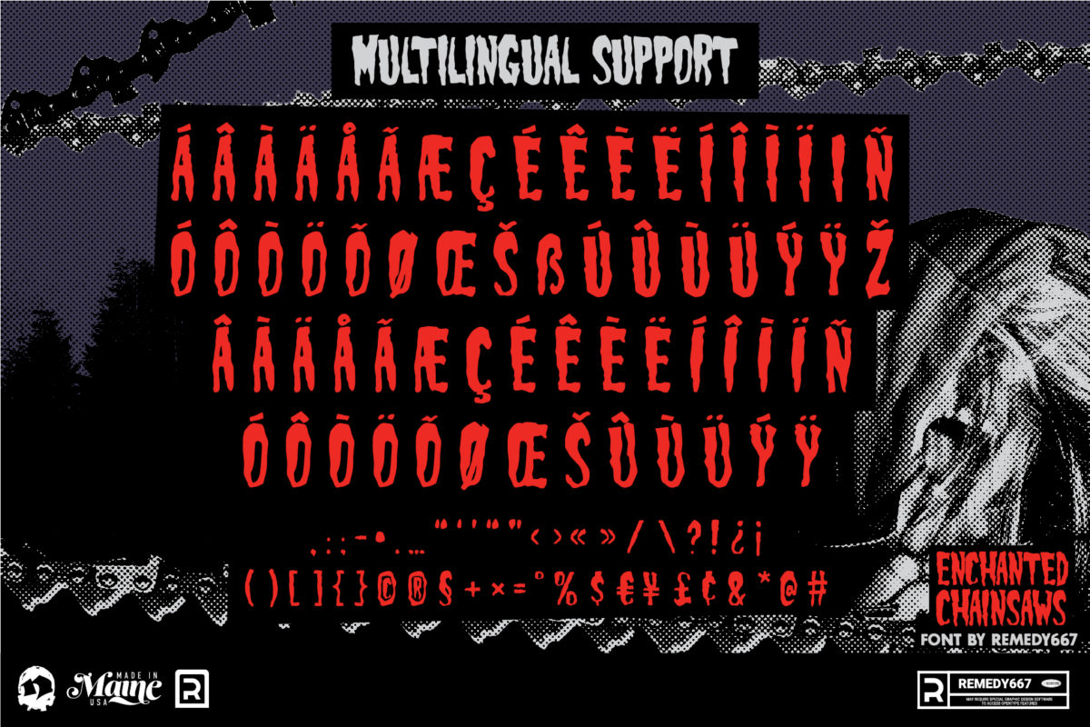Multilingual Characters from the Enchanted Chainsaws Font by Remedy667