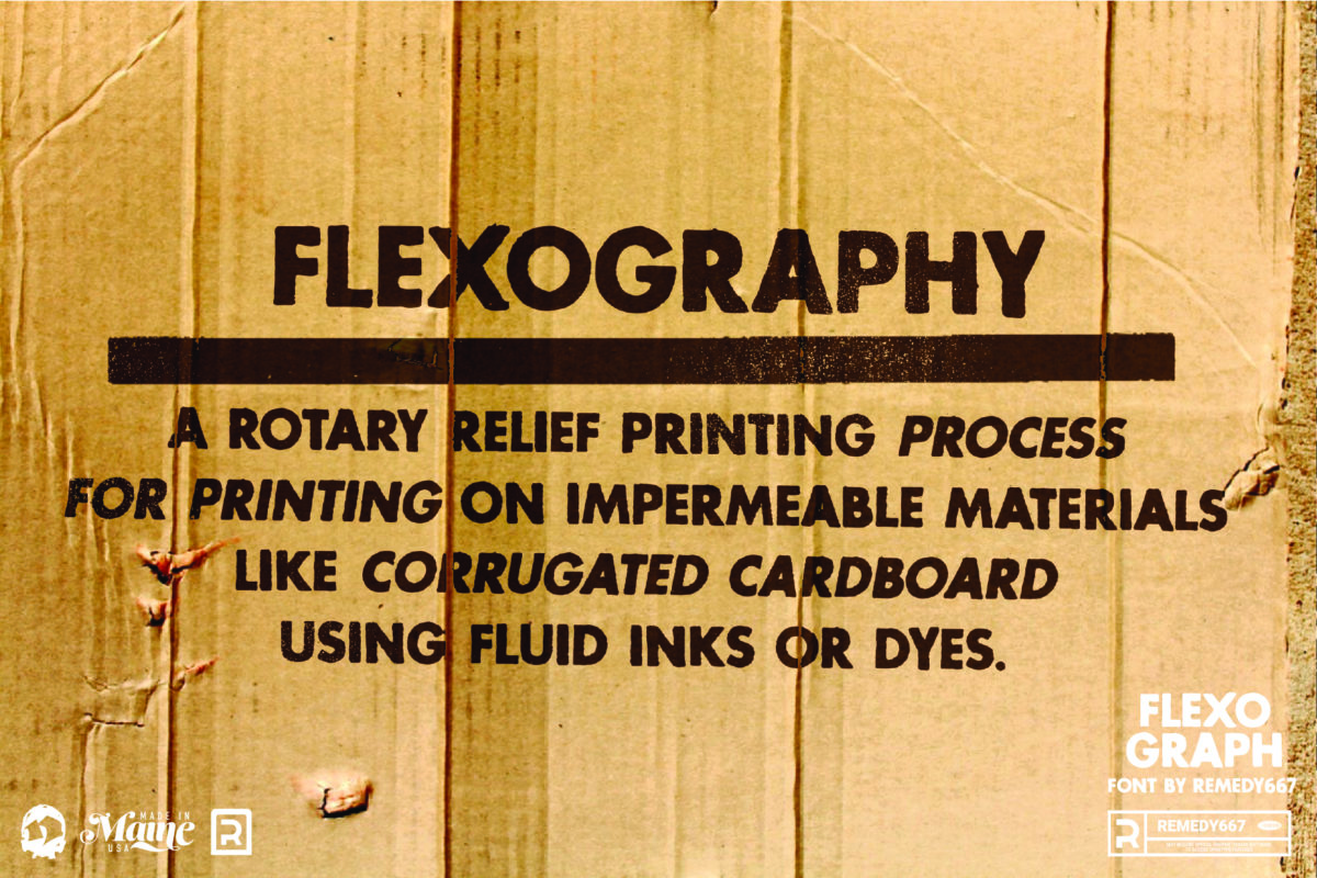 Flexography: A rotary printing process for printing on impermeable materials like corrugated cardboard using fluid inks or dyes. Flexograph Font by Remedy667