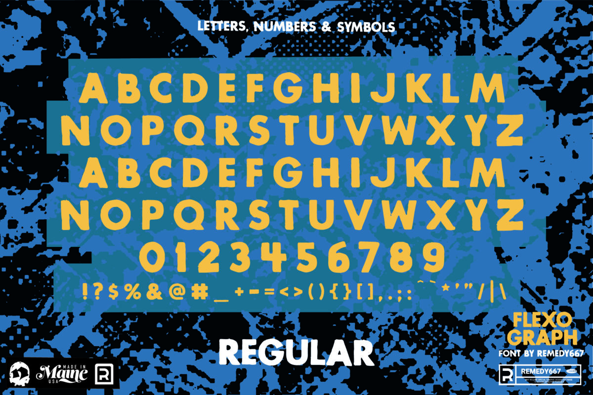 Letters, Numbers & Symbols in the Regular Version of the Flexograph Font by Remedy667