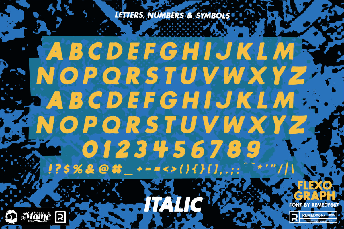 Letters, Numbers & Symbols in the Italic Version of the Flexograph Font by Remedy667