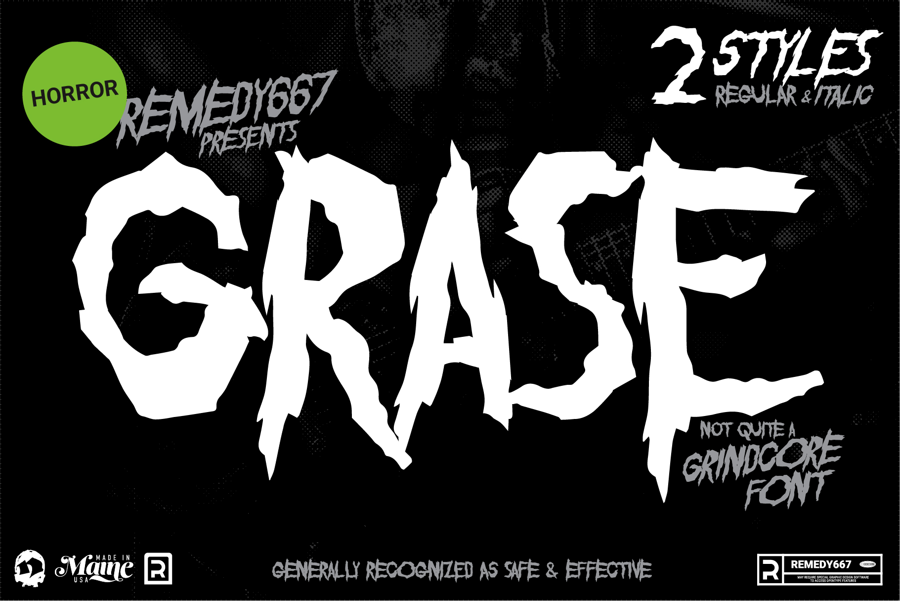 Grase font by Remedy667. Not quite a Grindcore font. Contains 2 styles: Regular and Italic.