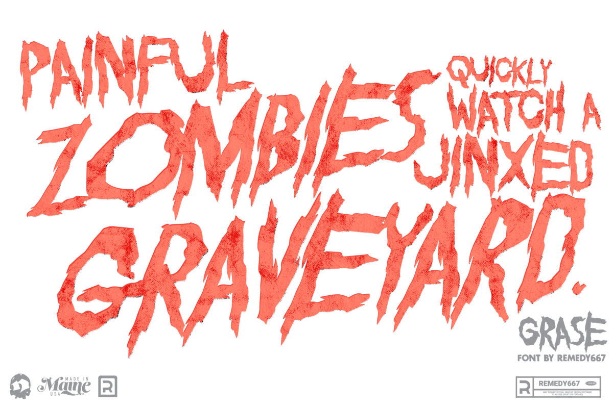 Painful Zombies Quickly Watch a Jinxed Graveyard. Panagrams set in the Grase font by Remedy667
