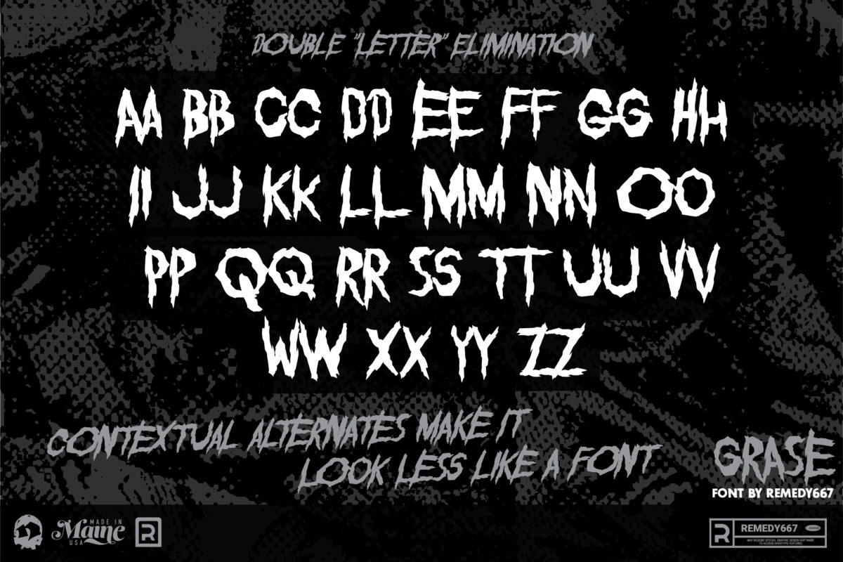 Double Letter Elimination. Contextual Alternates make your type look less like a font. The Grase font by Remedy667