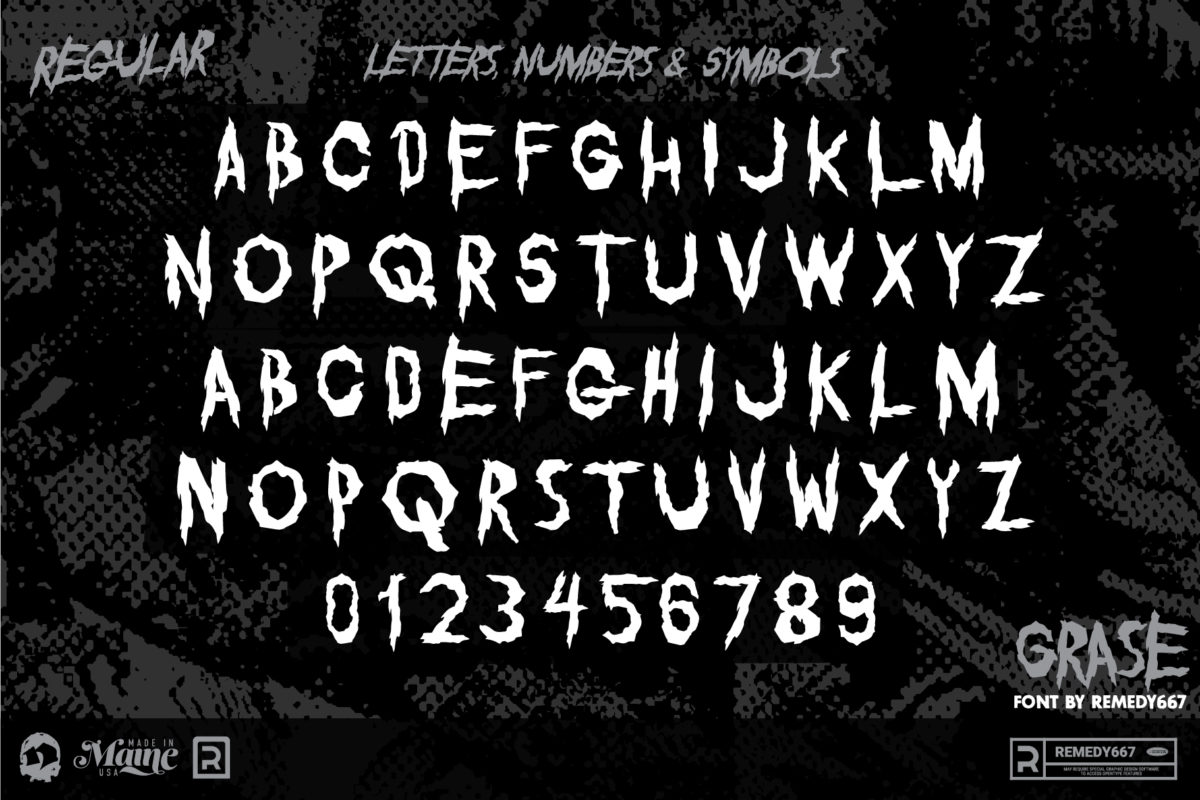 Letters, Numbers & Symbols in the Regular Version of the Grase Font by Remedy667