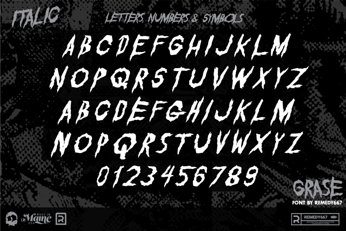 Letters, Numbers & Symbols in the Italic Version of the Grase Font by Remedy667